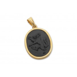 Black Onyx Pendant Heraldic Wolf Hand Carved Gold Plated Sterling Silver 925