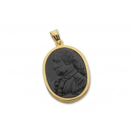George Washington Pendant Hand Carved Gold Plated Sterling Silver 925
