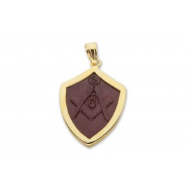 Masonic Pendant Red Agate Hand Carved Gold Plated Sterling Silver 925