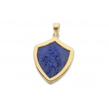 Lapis Pendant Blue Hand Carved Genuine Gemstone Gold Plated Sterling Silver 925