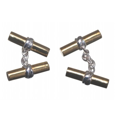 Solid Silver Gold Plated Imperial Double Cufflinks