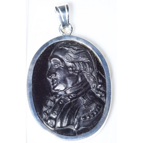 George Washington Pendant Hand Carved Black Onyx Sterling Silver 925