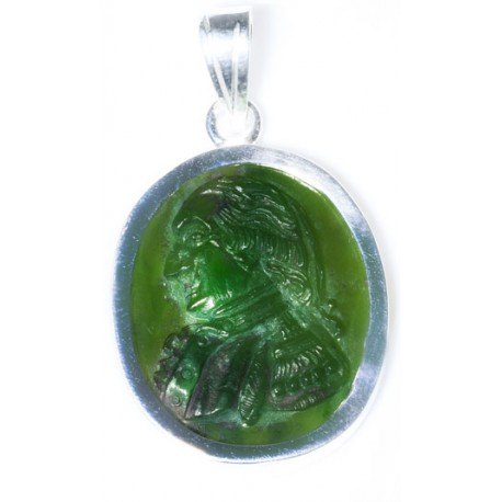 George Washington Pendant Hand Carved Canada Jade Sterling Silver 925