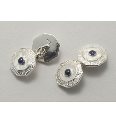 Traditional Octagonal Cufflinks Silver and Sapphires
