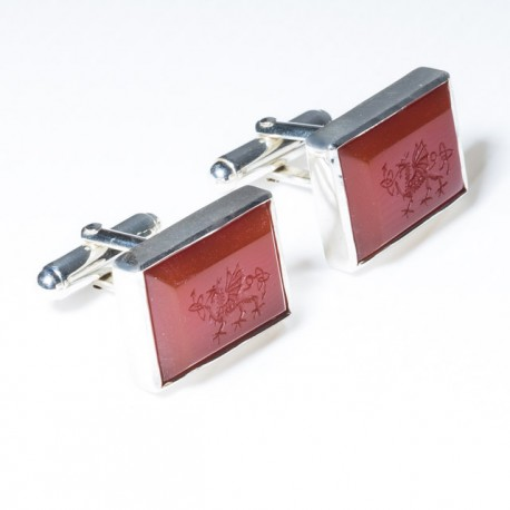 Celtic Dragon Cufflinks Red Agate Hand Engraved Sterling Silver 925