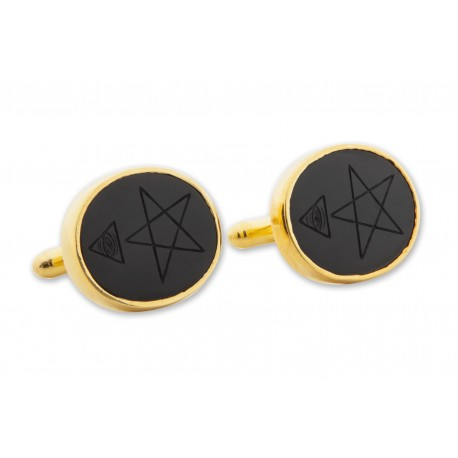 Masonic Cufflinks Black Onyx Interesting Pentagram, Pyramid Eye Gold Plated Sterling Silver 925