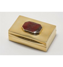 Gold Plated Regnas Silver Box Heraldic Engraved Lid.