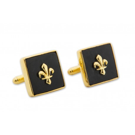 Fleur De Lys Cufflinks Heraldic Black Onyx Genuine Gemstone Gold Plated Sterling Silver 925