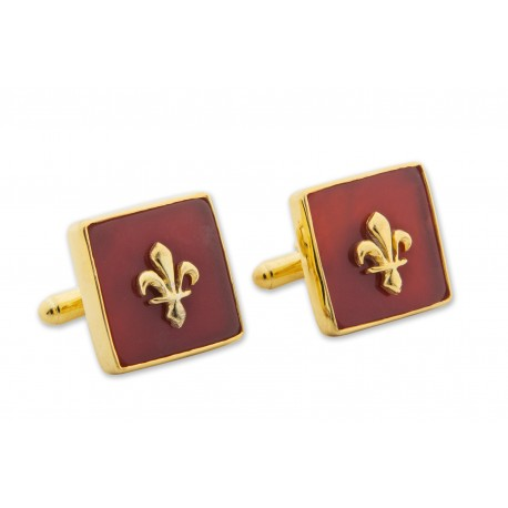 Fleur De Lys Cufflinks Red Agate Genuine Gemstone Gold Plated Sterling Silver 925