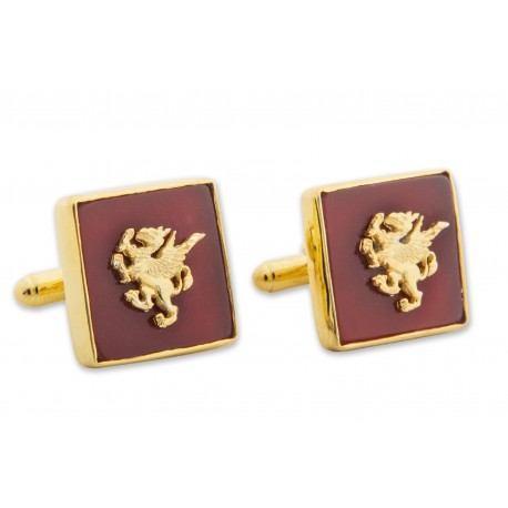Griffon Cufflinks Red Agate Genuine Gemstone Gold Plated Sterling Silver 925