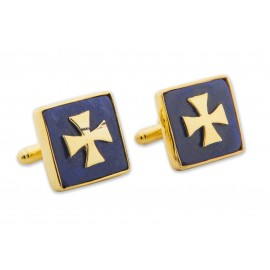 Lapis Templar Cross Cufflinks Genuine Gemstone Gold Plated Sterling Silver Templar Cross 925
