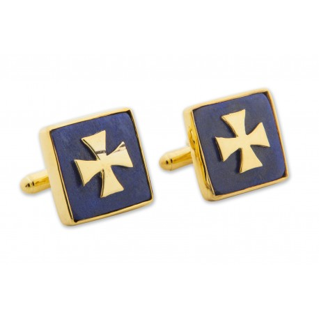 Lapis Cufflinks Genuine Gemstone Gold Plated Sterling Silver Templar Cross 925
