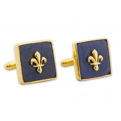 Fleur De Lys Lapis Cufflinks Heraldic Genuine Gemstone Gold Plated Sterling Silver 925