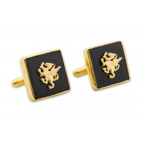 Griffon Cufflinks Black Onyx Genuine Gemstone Gold Plated Sterling Silver 925