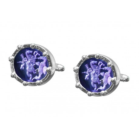 Saint George Cufflinks Hand Engraved Synthetic Amethyst Heraldic Sterling Silver 925