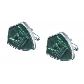 Jade Cufflinks Heraldic Phoenix Hand Carved Shield Sterling Silver 925