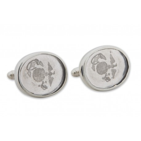 Crystal Cufflinks Logo Of United States Marine Sterling Silver 925
