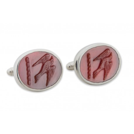 Red Agate Cufflinks Hand Carved Hawk Sterling Silver 925