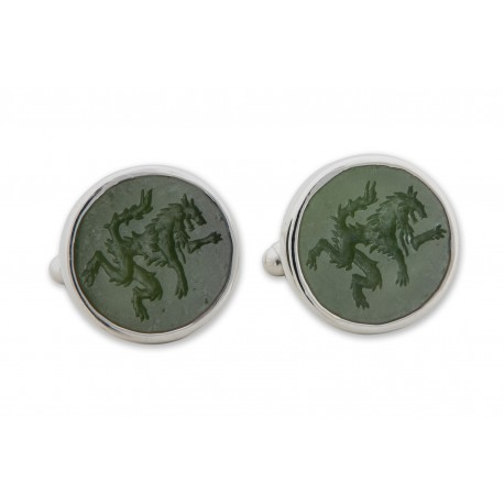Canada Jade Cufflinks Hand Engraved Wolf Sterling Silver 925