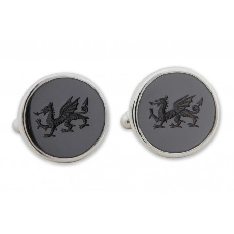 Black Onyx Cufflinks Hand Engraved Welsh Dragon Sterling Silver 925