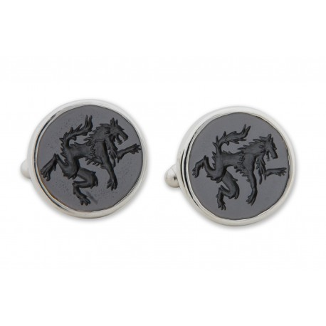 Black Onyx Cufflinks Hand Engraved Wolf Sterling Silver 925