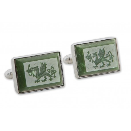 Welsh Dragon Cufflinks Canada Jade Handmade Engraved Sterling Silver 925