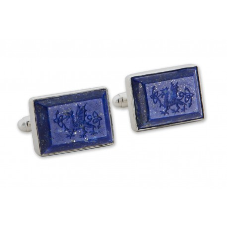 Welsh Dragon Cufflinks Lapis Handmade Engraved Sterling Silver 925