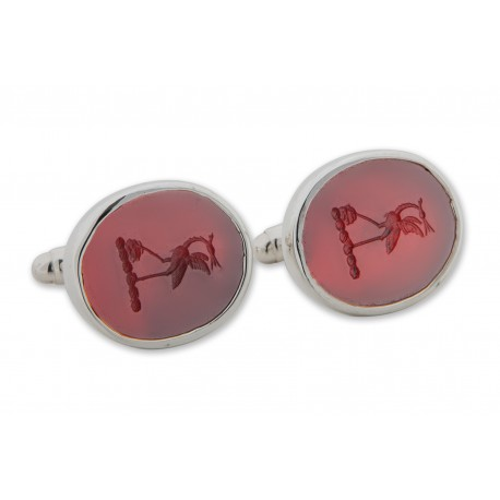 Red Agate Cufflinks Family Crest English Bird Stork Sterling Silver 925