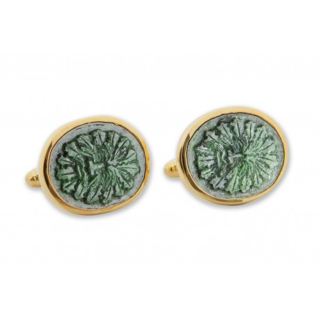Jade Green Man Cufflinks Hand Carved Genuine Gemstone Gold Plated Sterling Silver 925