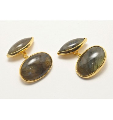 Labradorite Super Double Oval Gold Plated sterling silver Cufflinks