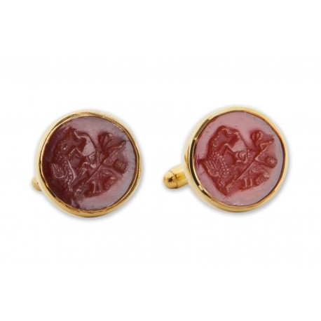 Red Agate Cufflinks Hand Carved Saint George and The Dragon Gold Plated Sterling Silver 925
