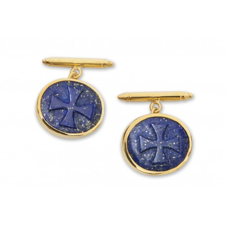 Lapis Templar Cross Cufflinks Carved By Hand Genuine Gemstone Gold Plated Sterling Silver 925