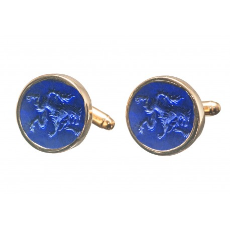 Lapis Cufflinks Hand Engraved Wolf Gold Plated Sterling Silver 925
