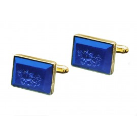 Welsh Dragon Cufflinks Lapis Handmade Engraved Gold Plated Sterling Silver 925