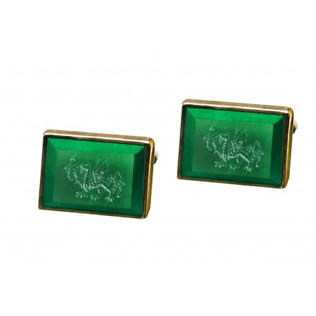 Welsh Dragon Cufflinks Canada Jade Handmade Engraved Gold Plated Sterling Silver 925