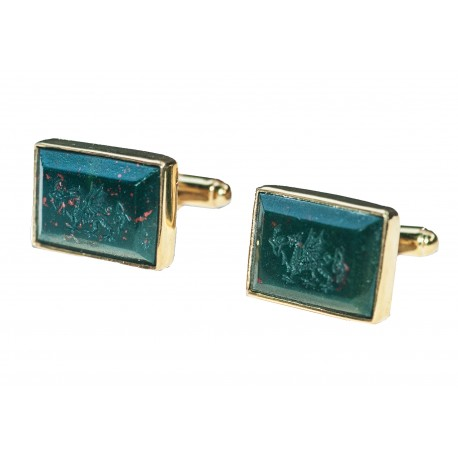 Welsh Dragon Cufflinks Bloodstone Handmade Engraved Gold Plated Sterling Silver 925