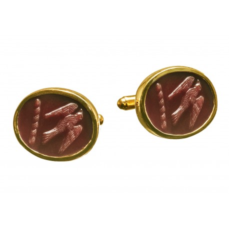 Red Agate Cufflinks Hand Carved Hawk Gold Plated Sterling Silver 925
