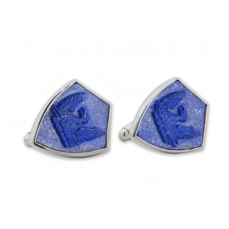 Lapis Cufflinks Heraldic Phoenix Hand Carved Shield Sterling Silver 925