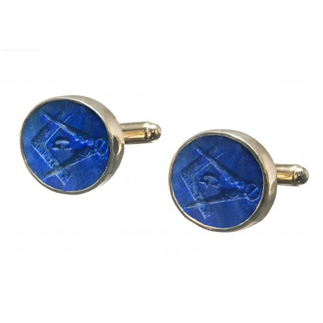 Masonic Cufflinks Set Square Compass Lapis Gemstone Gold Plated Sterling Silver 925
