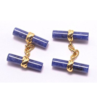 Sodalite Imperial Double Bar Cufflinks gold plated sterling silver