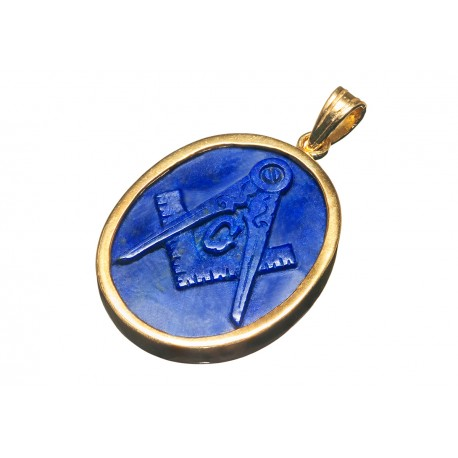 Masonic Lapis Pendant Heraldic Hand Carved Gold Plated Sterling Silver 925