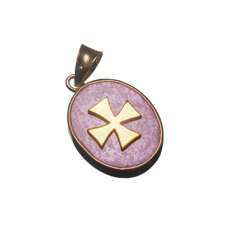 Templar Pendant Rhodonite Gold Plated Silver Cross 925