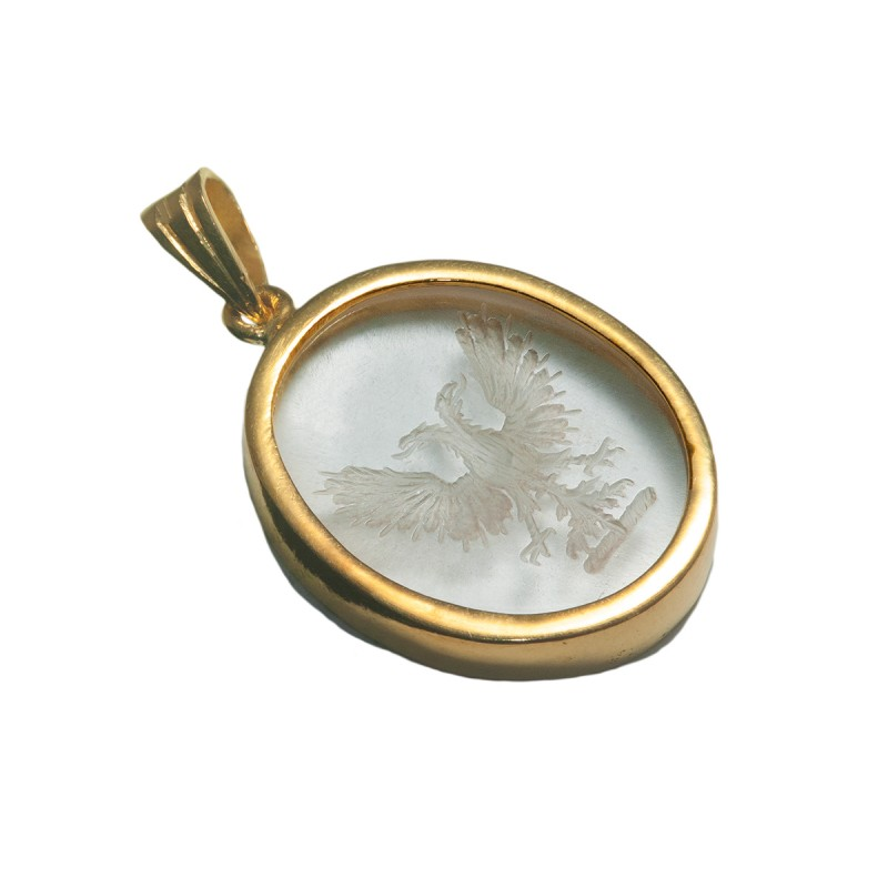 eagle pendant heraldic engraved gold plated
