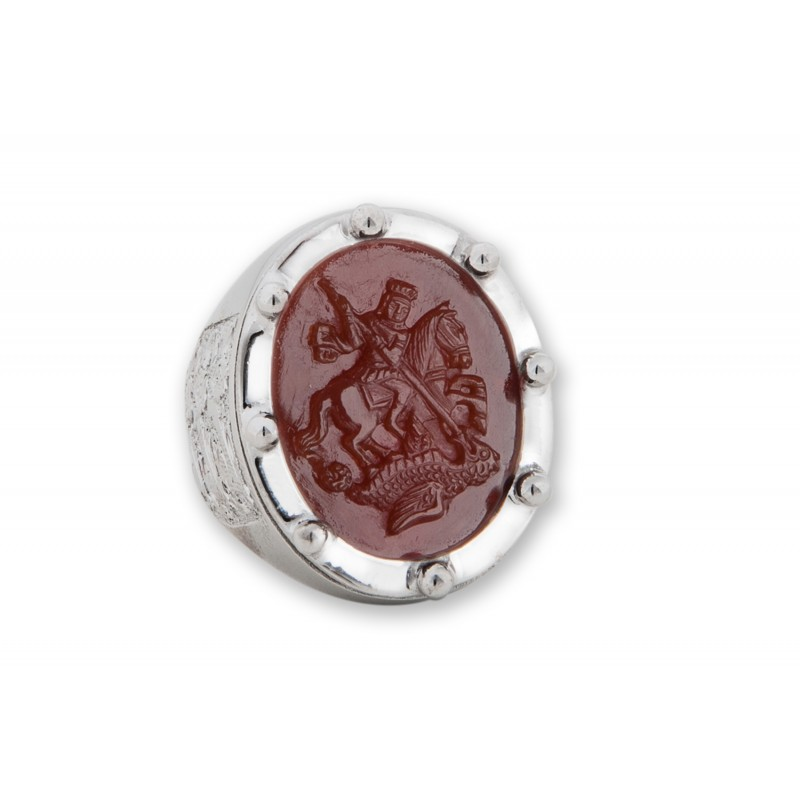 Saint George Ring Hand Carved Red Agate Sterling Silver