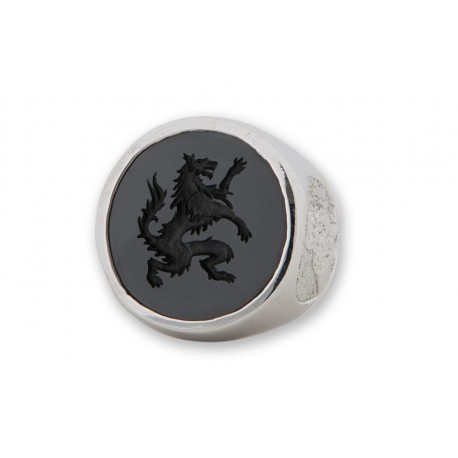 Black Onyx Ring Wolf Harry Genuine Gemstone In Sterling Silver 925