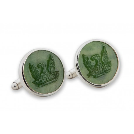 Canada Jade Cufflinks Phoenix Hand Carved Genuine Gemstone Sterling Silver 925