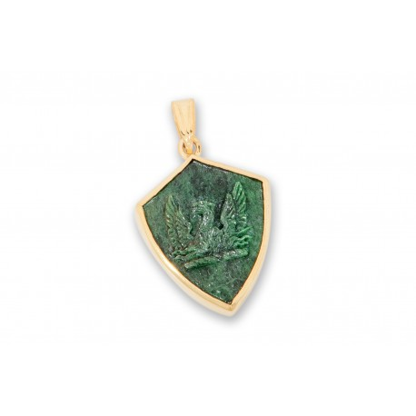 Jade Pendant Heraldic Phoenix Hand Carved Gold Plated Sterling Silver 925
