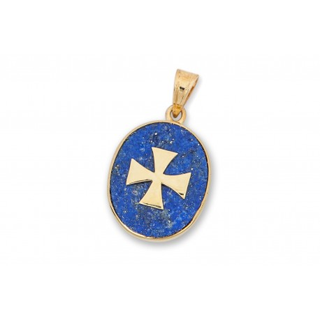 Templar Cross Pendant Lapis Genuine Gemstone Gold Plated Sterling Silver 925