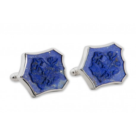 Lapis Cufflinks Saint George The Dragon Handmade Carved Sterling Silver 925