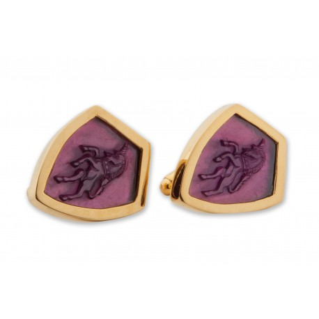 Amethyst Shield Unicorn Cufflinks Heraldic Hand Carved Family Crest Gold Plated Sterling Silver 925